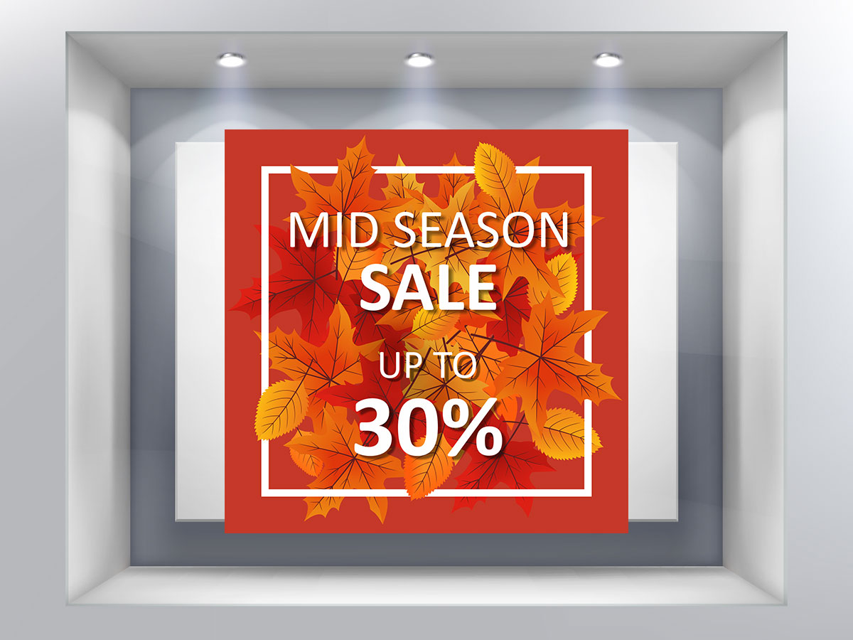 59fcefa7c3 Mid season sales - autumn leaves up to - Αυτοκόλλητο προσφορών ...